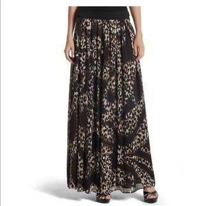 NWT WHBM leopard chiffon maxi skirt